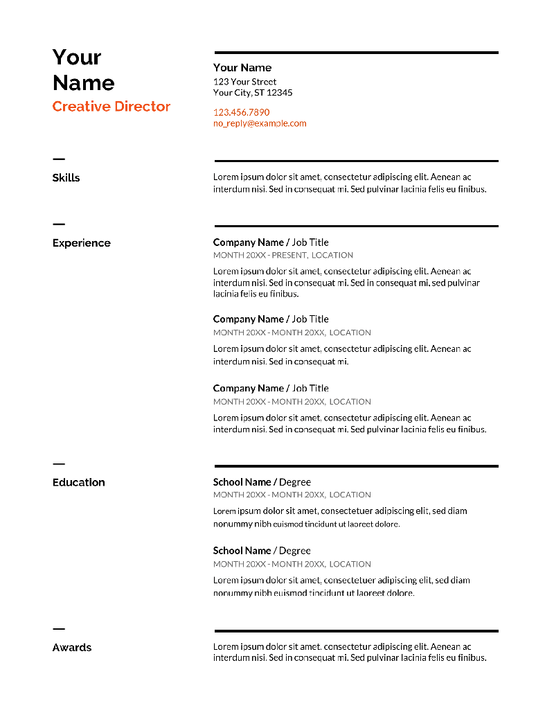 Google Docs Resume Templates 13 Free Examples