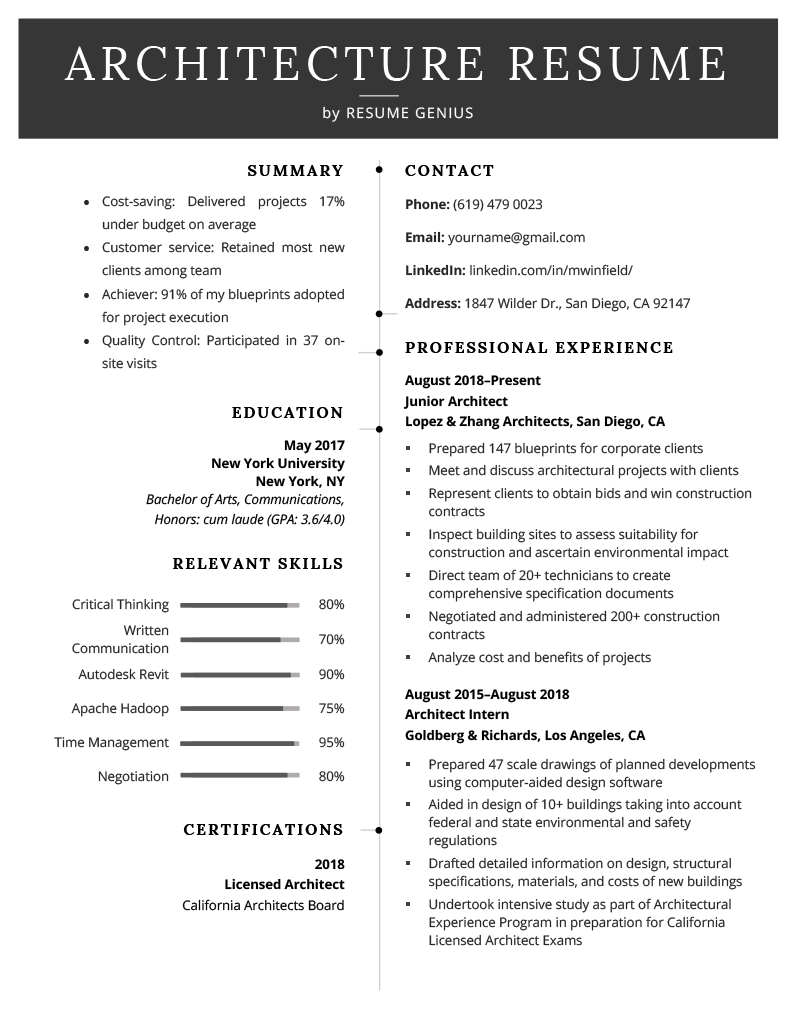 architecture resume sample  free download