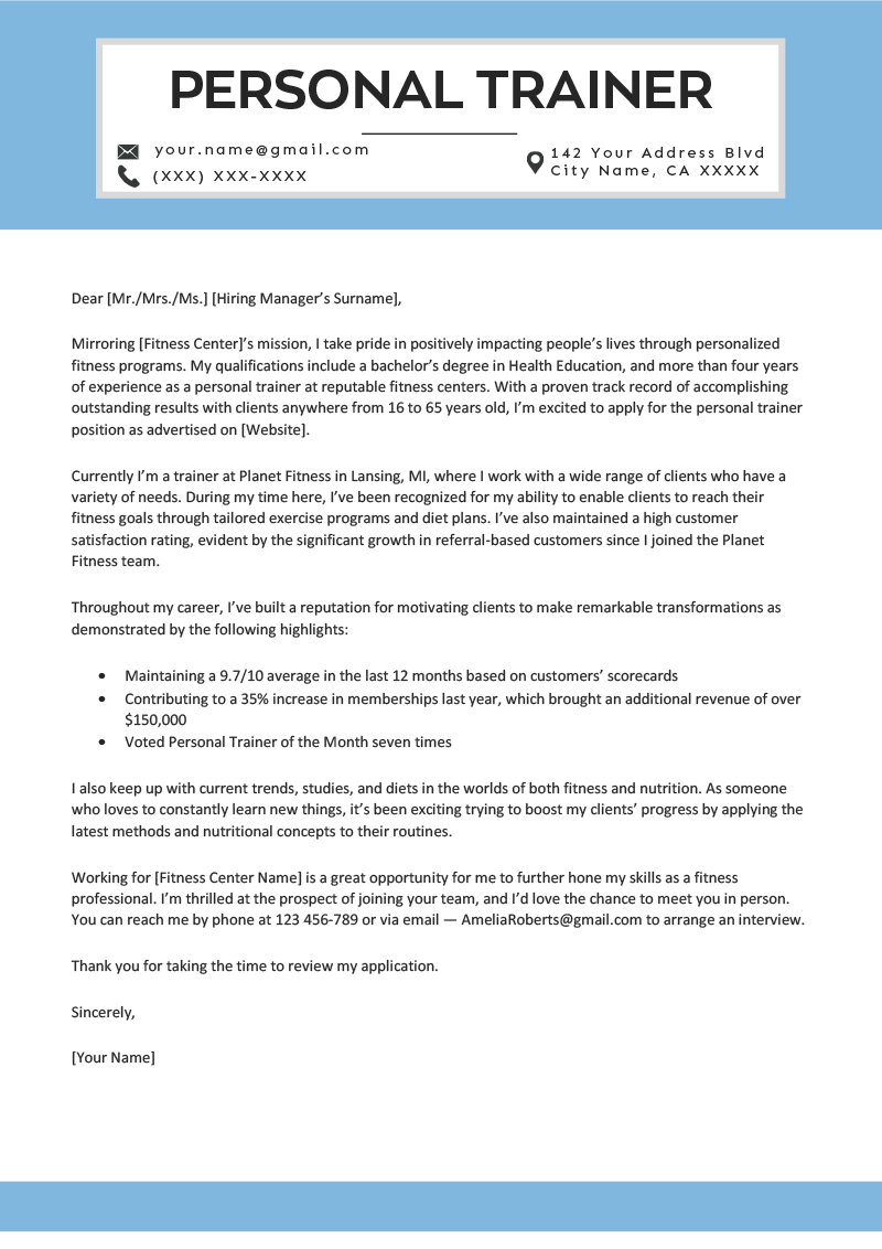 Personal Trainer Cover Letter Template