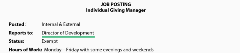Job posting with the following text: JOB POSTING, Individual giving manager. Posted: Internal & External, Reports to: Director of Development, Status: Exempt, Hours of work: Monday to Friday with some evenings and weekends