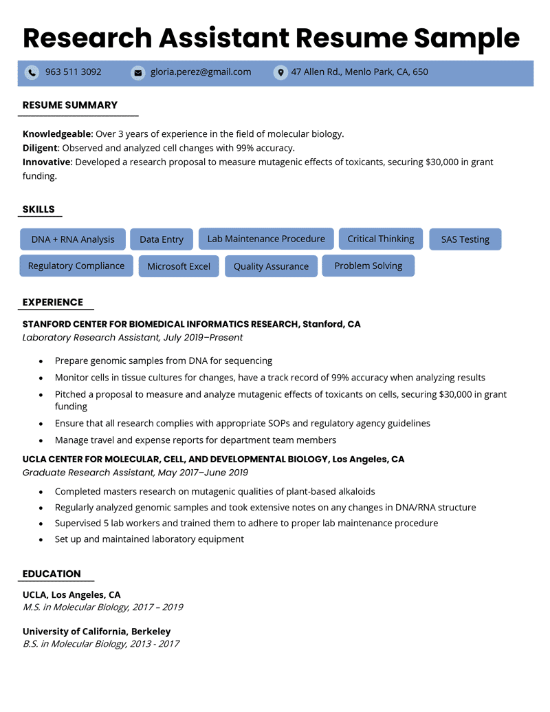 Research Assistant Resume Sample Skills Writing Tips