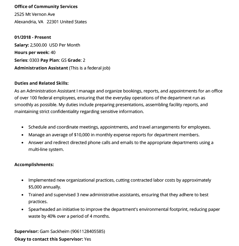 Example image of work experience on a federal resume