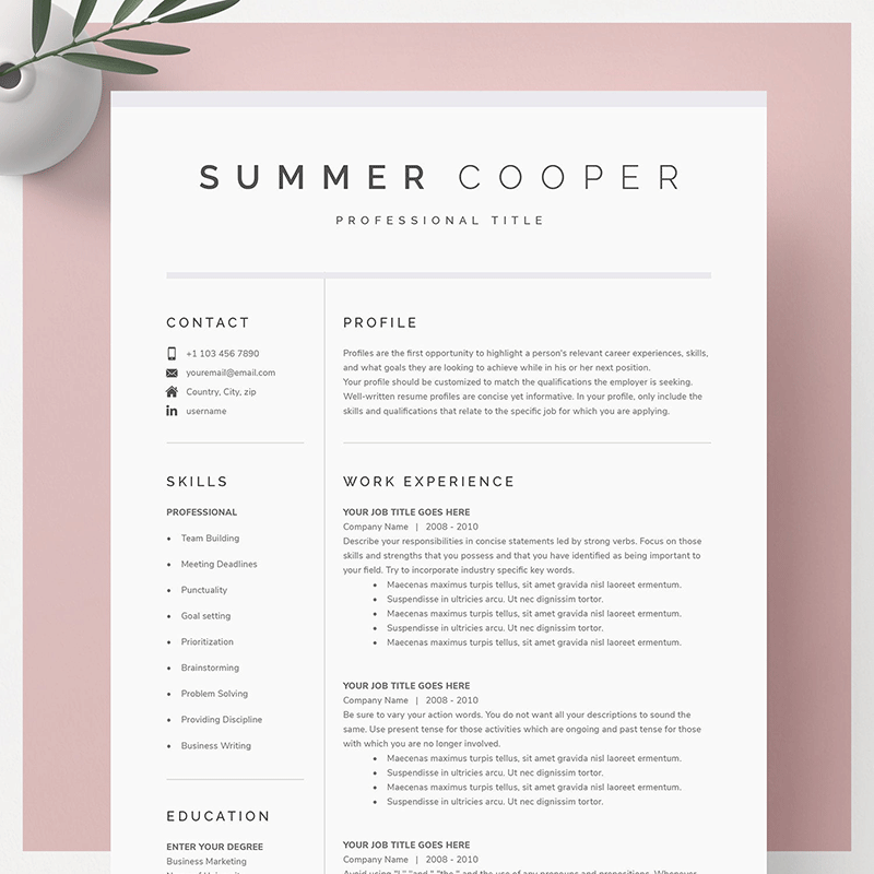 A modern Google Docs resume template