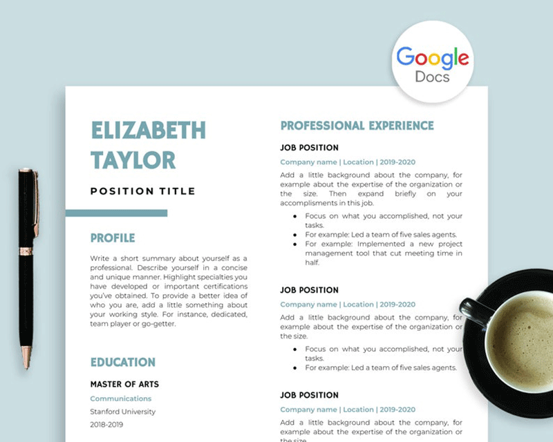 A creative resume template for Google Docs
