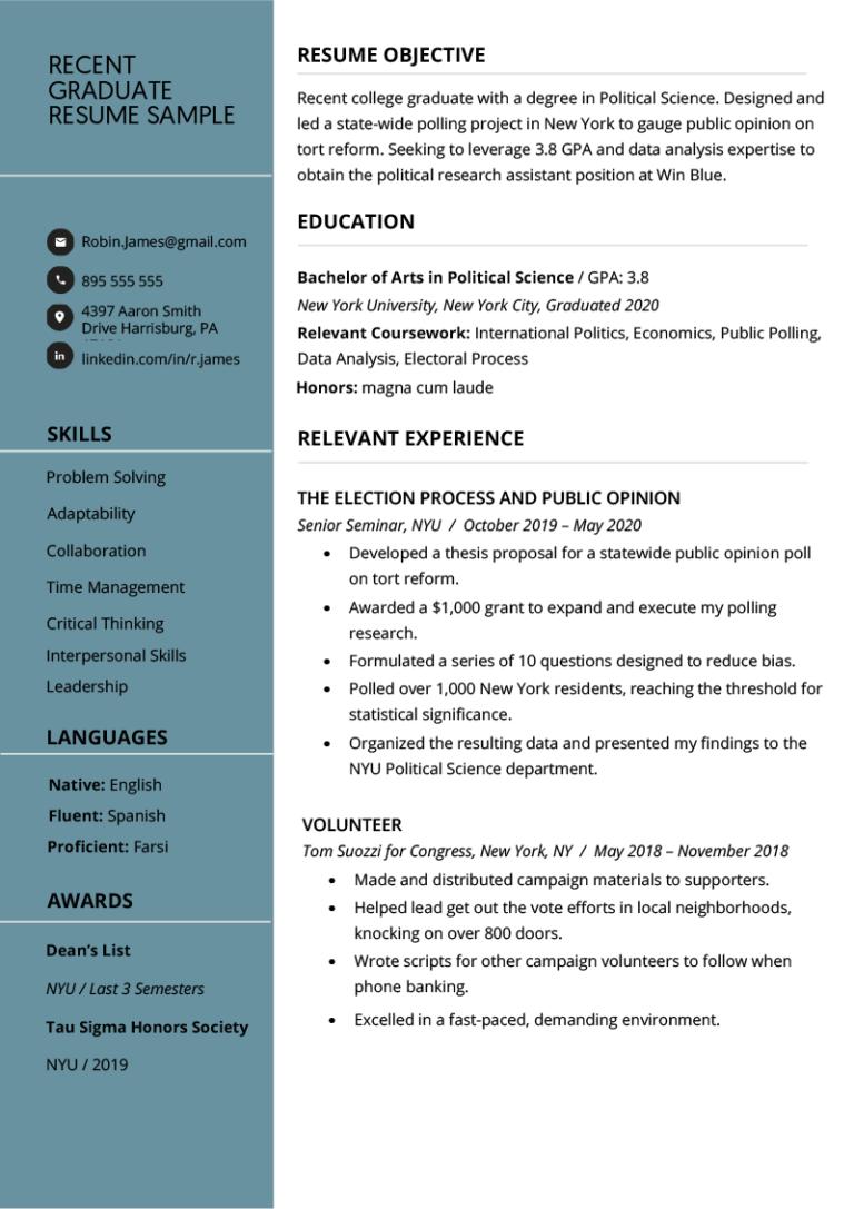 recent college graduate resume examples plus writing tips