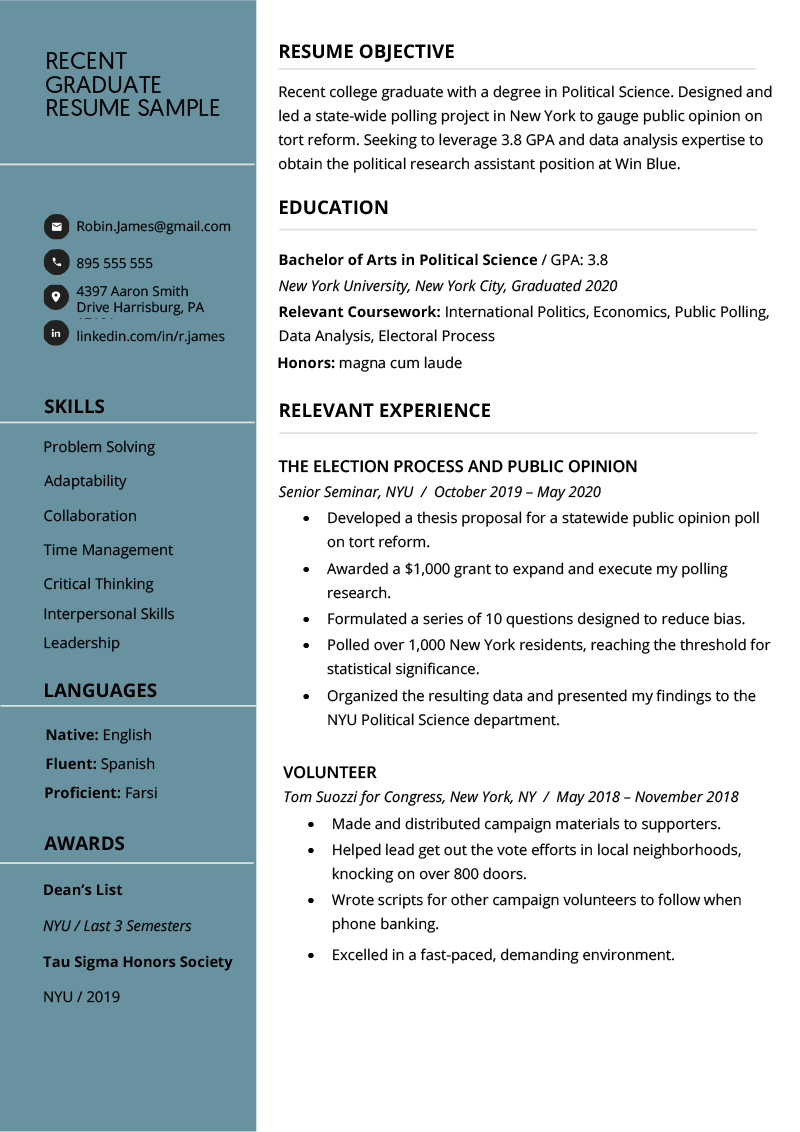 recent college graduate resume examples  plus writing tips