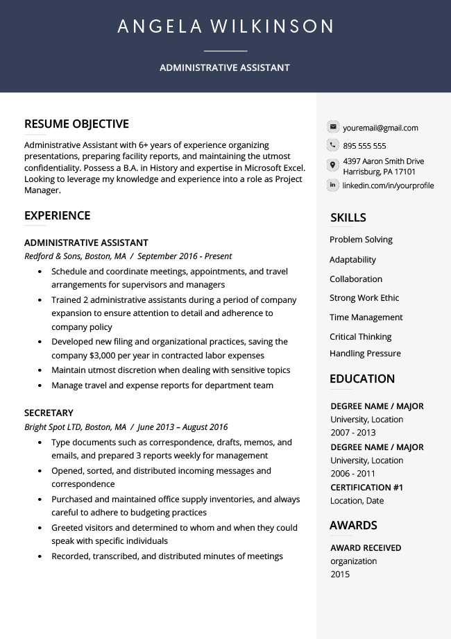 An example of an ATS-friendly resume template