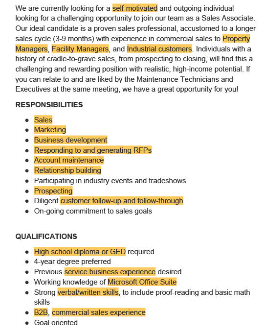 A job description with the ATS resume keywords highlighted