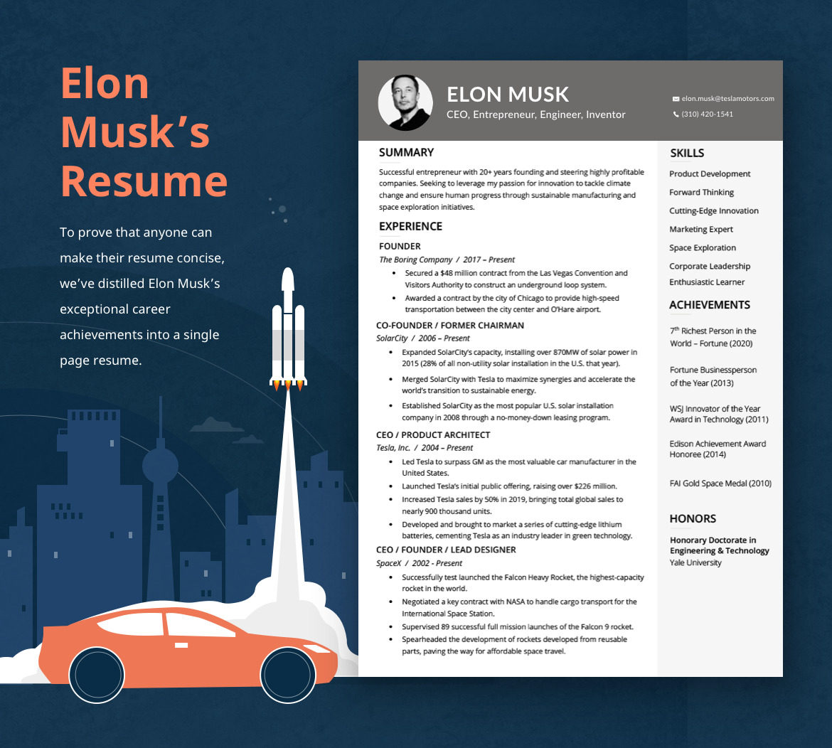 An example of Elon Musk's one page resume