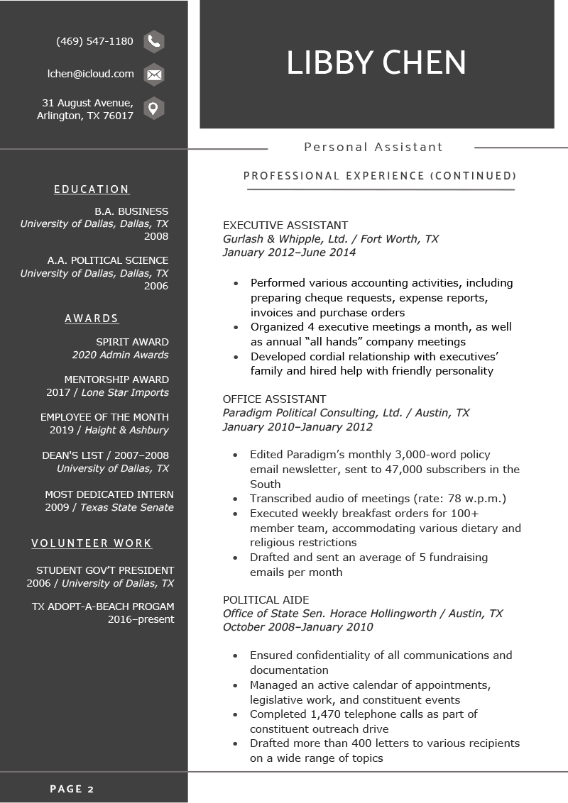 Page 2 of a 2 page resume example