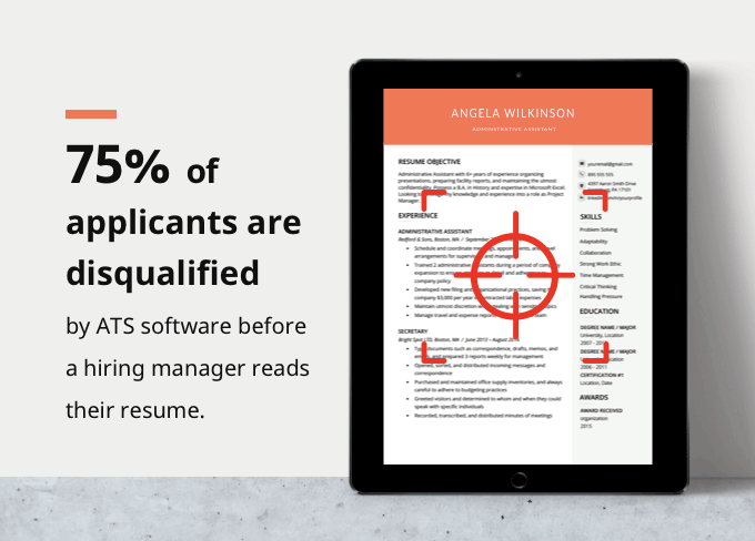 ats resume infographic depicting how you need an ats-friendly resume template to ensure your application gets read by hiring managers