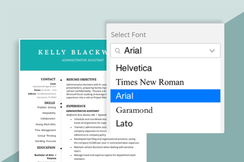best font for resume hero, commonly used resume fonts highlighted