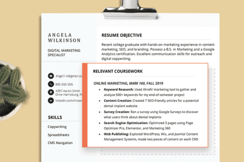 How To List Relevant Coursework On A Resume 4 Examples