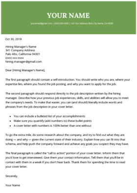 2021 Cover Letter Template Green