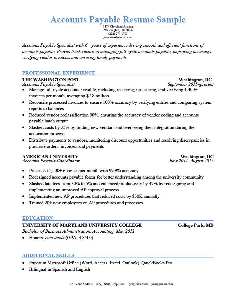 Accounts Payable Resume Sample Template