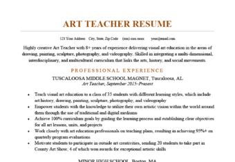 An art teacher resume sample