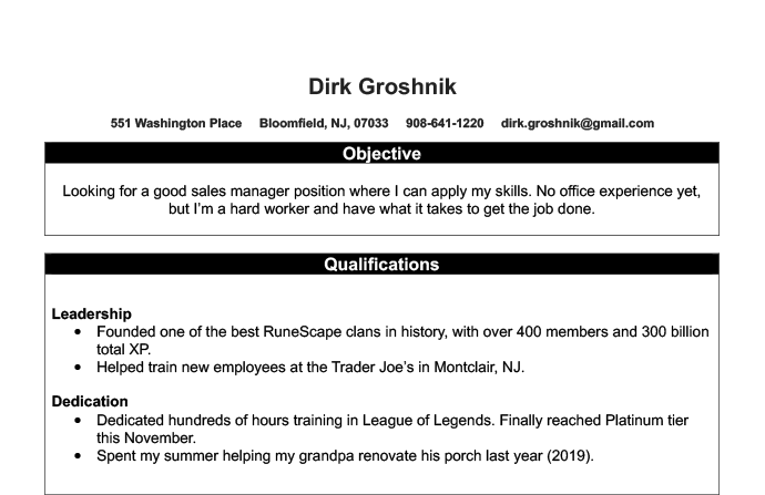 An example of a bad resume with irrelevant experience