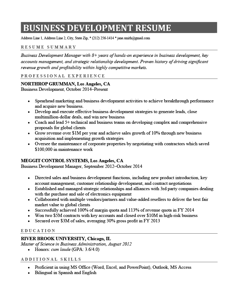 A business development resume example