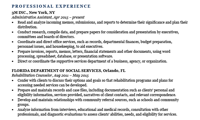 An example of an experience section on a resume