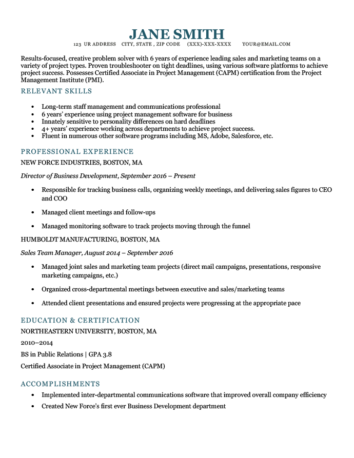 An example of a career change resume