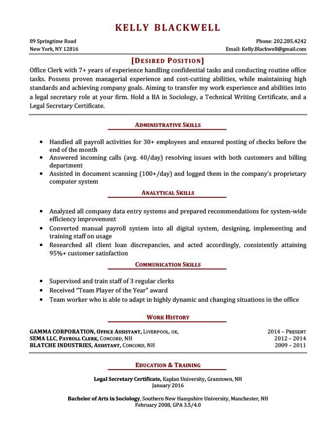 An example of a career change resume template