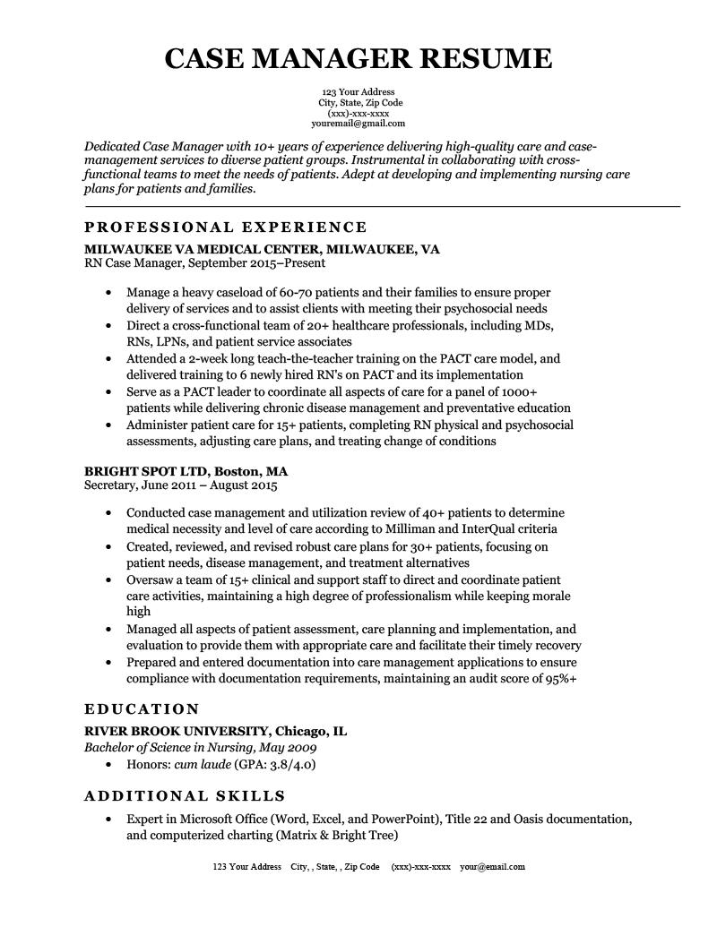 Case Manager Resume Sample