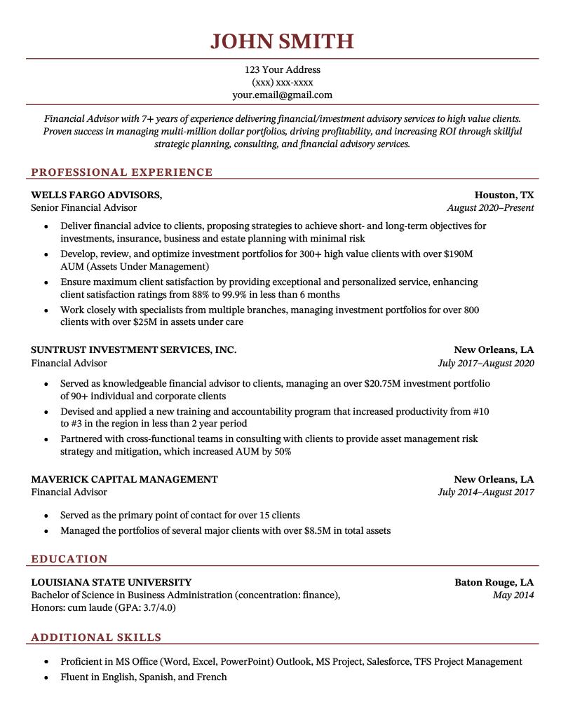 Chicago CV Template Sample