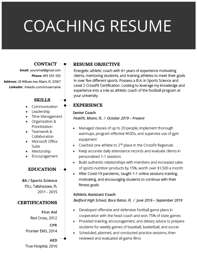 An example of a coaching resume