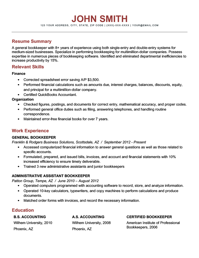 An example of the combination resume format