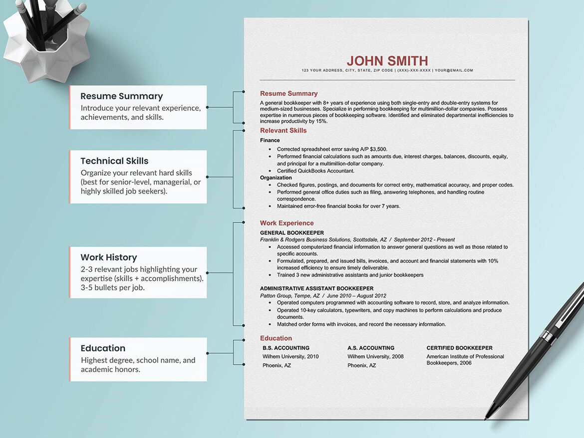 An example of a combination, which is a nontraditional resume type