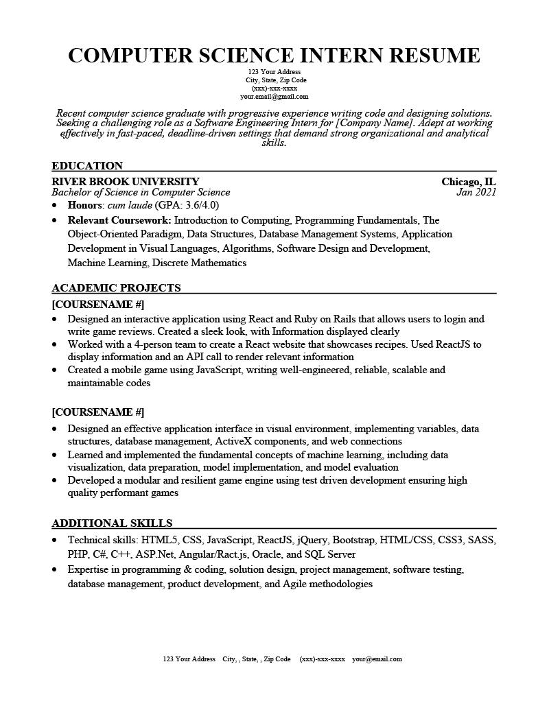 Computer Science Intern Resume Example