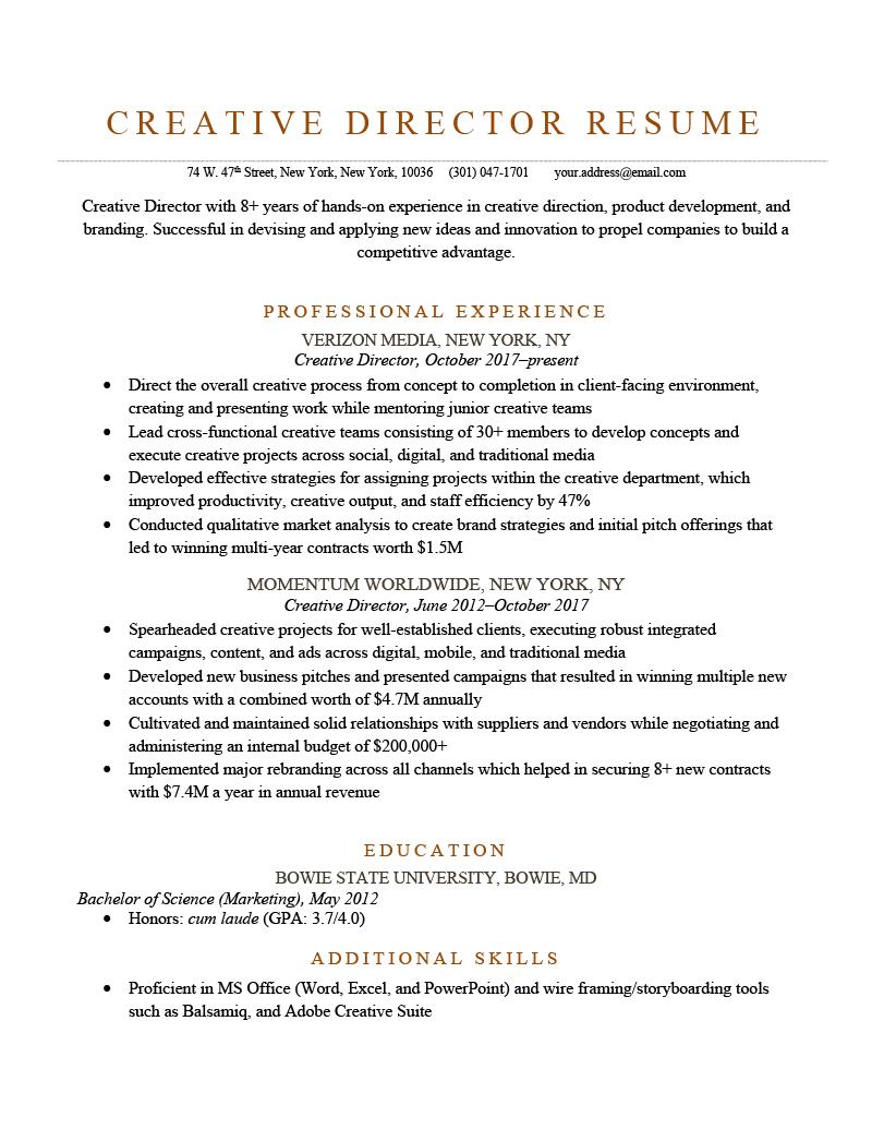 Creative Director Resume Sample Template