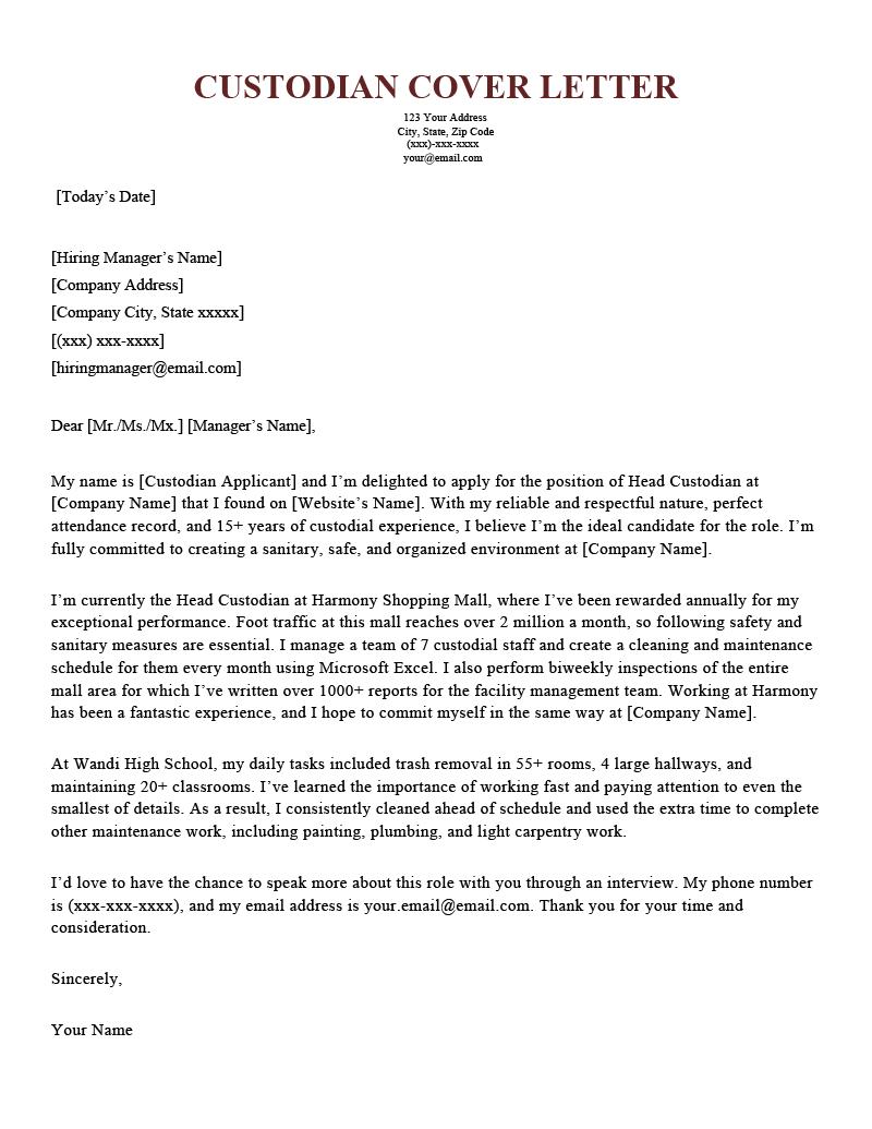 Custodian Cover Letter Sample Template