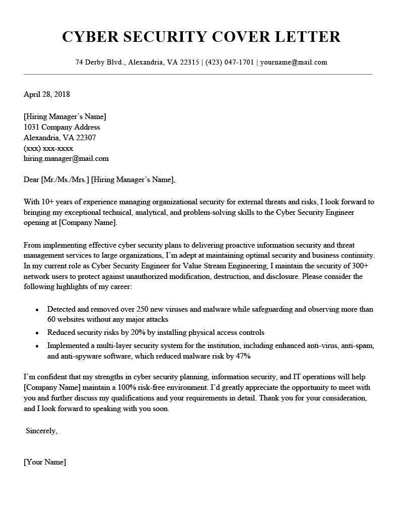 Cyber Security Cover Letter Example Template
