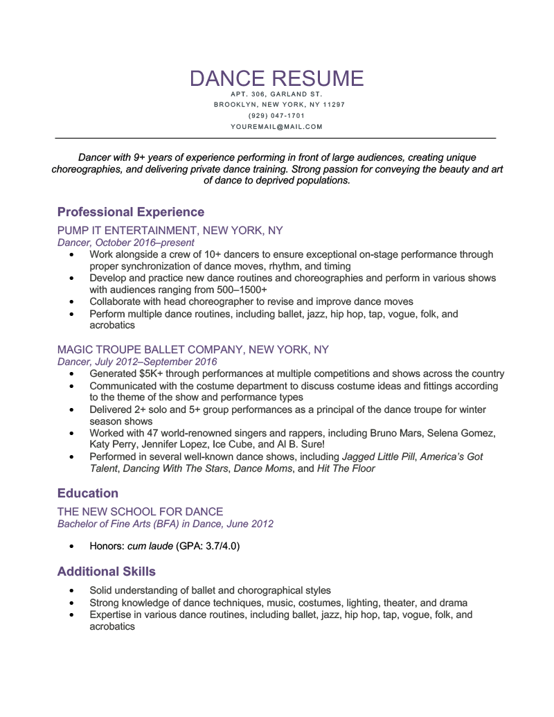 Dance-Resume-Sample-Template