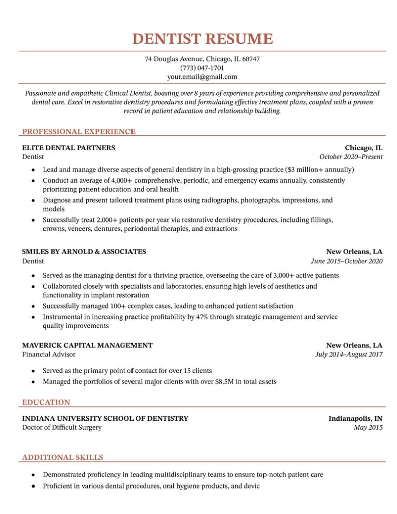 dentist resume sample for download  resume genius