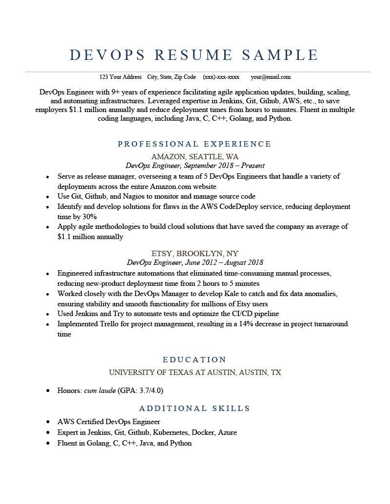 DevOps Resume Sample