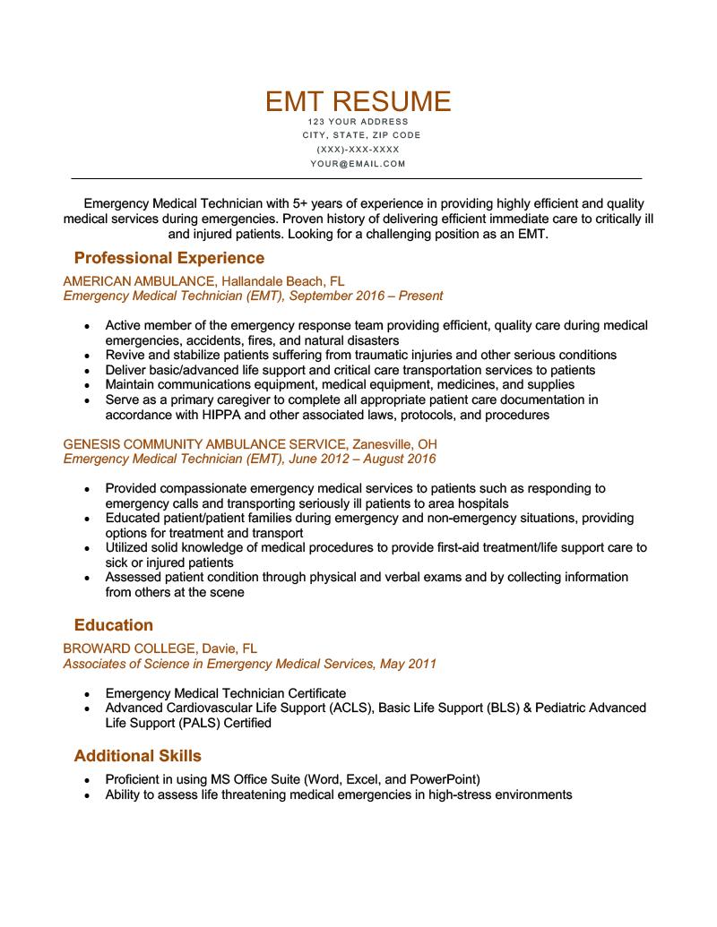 An EMT resume sample