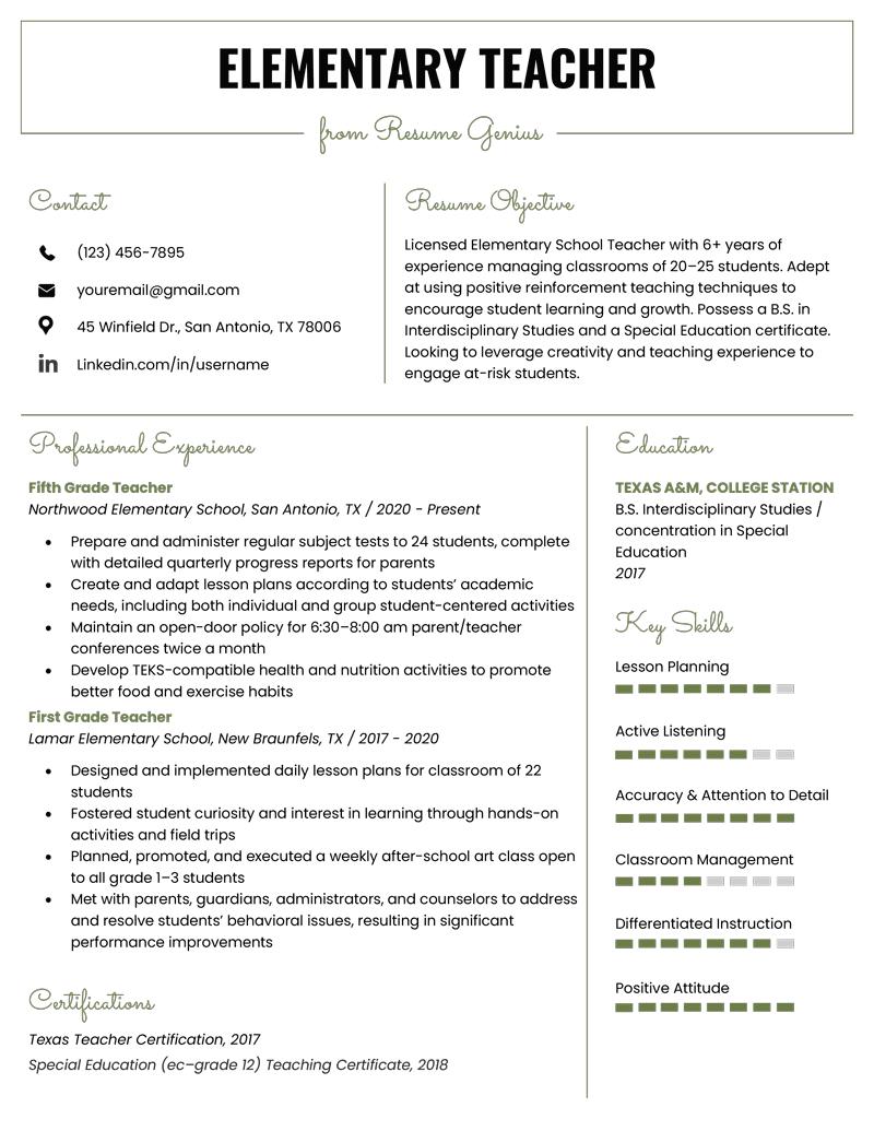 An image of an elementary teacher resume sample.
