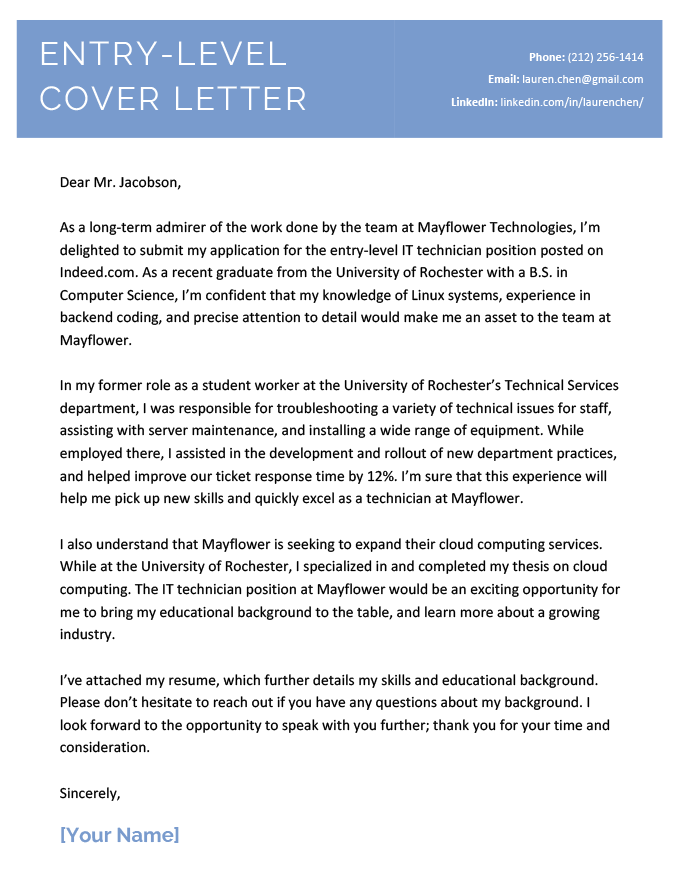 An example of an entry level cover letter