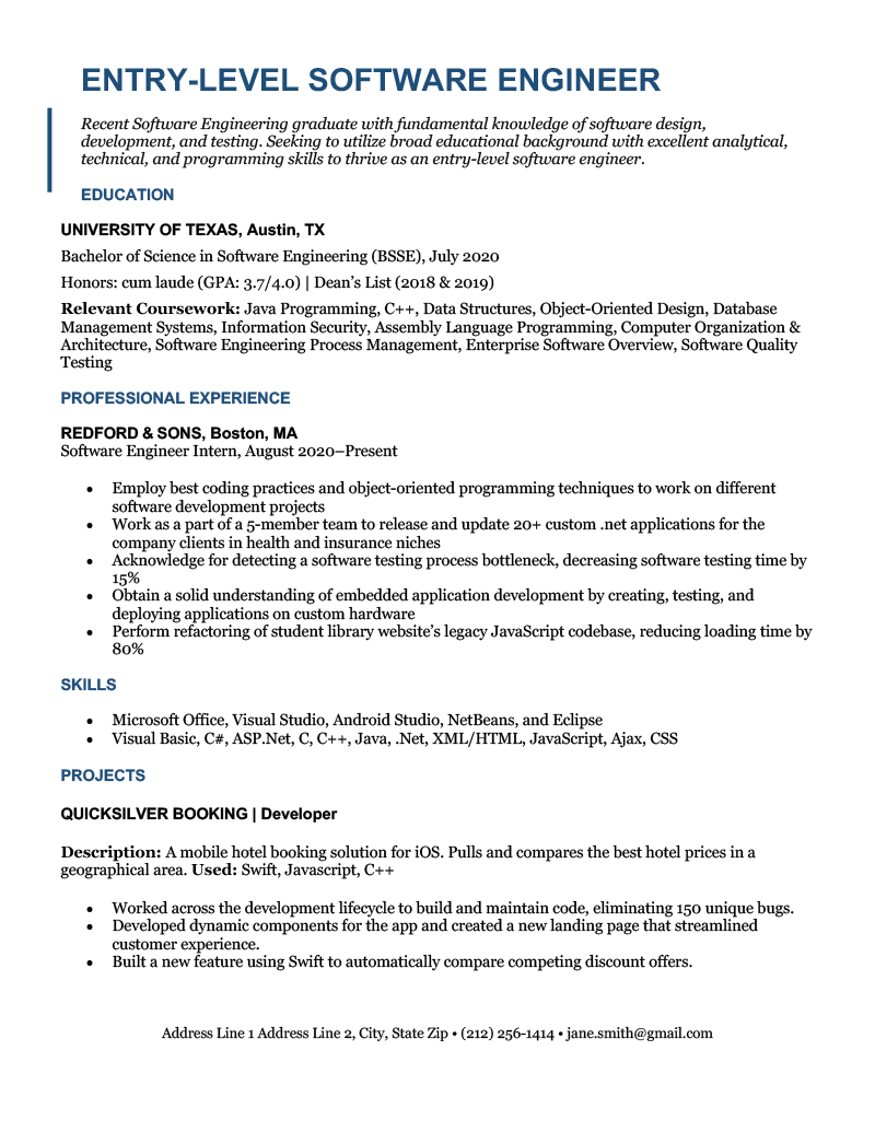 An entry level software engineer resume sample