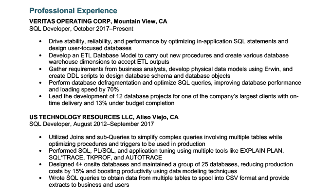 An example of technical skills in a resume experience section