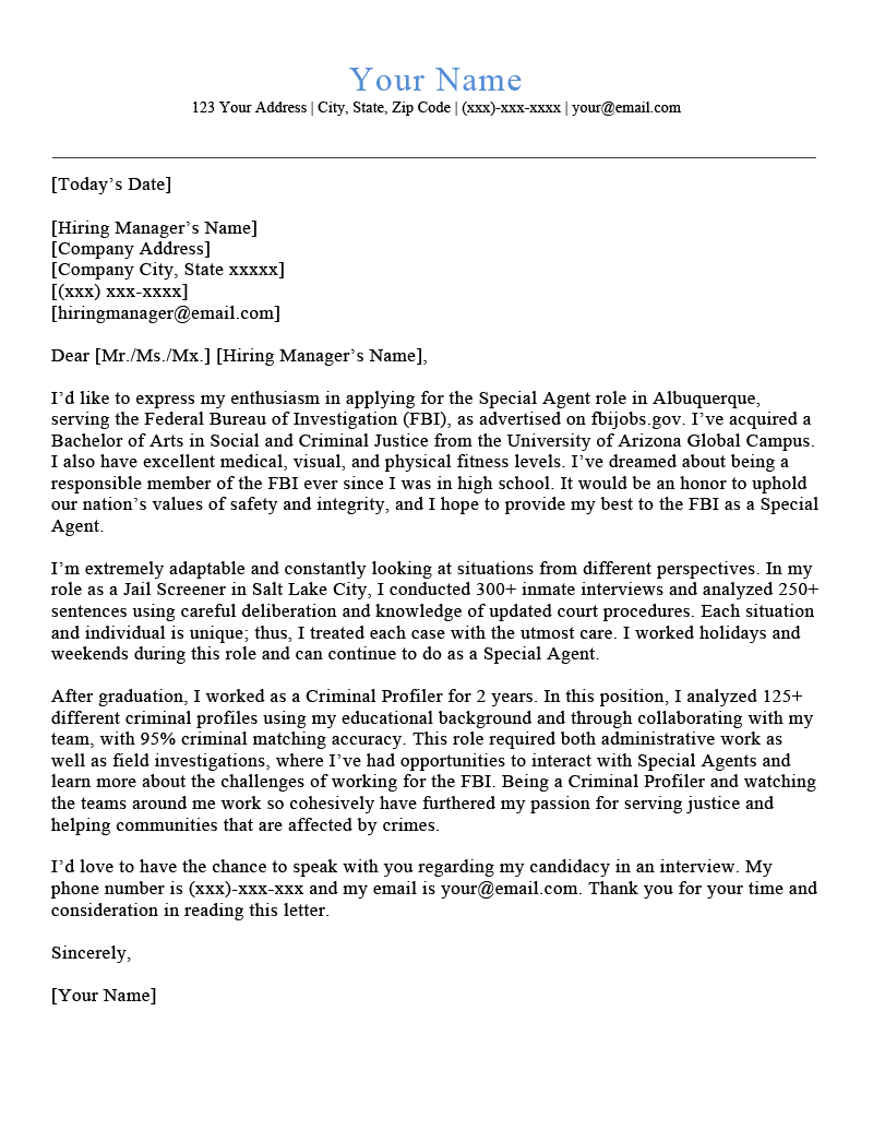 FBI Cover Letter Example Template