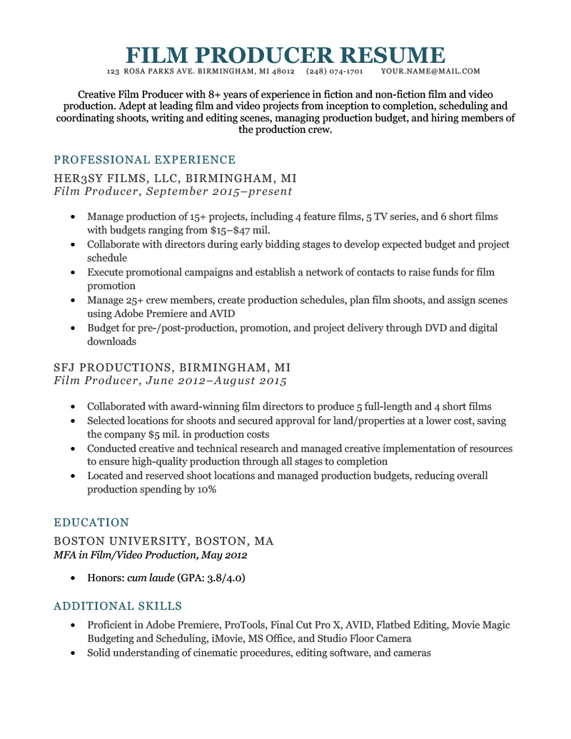 Film Resume Example Template