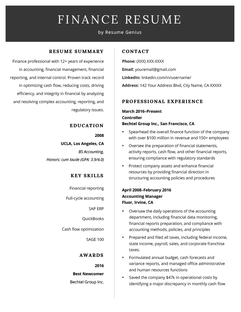 Finance Resume Example Template