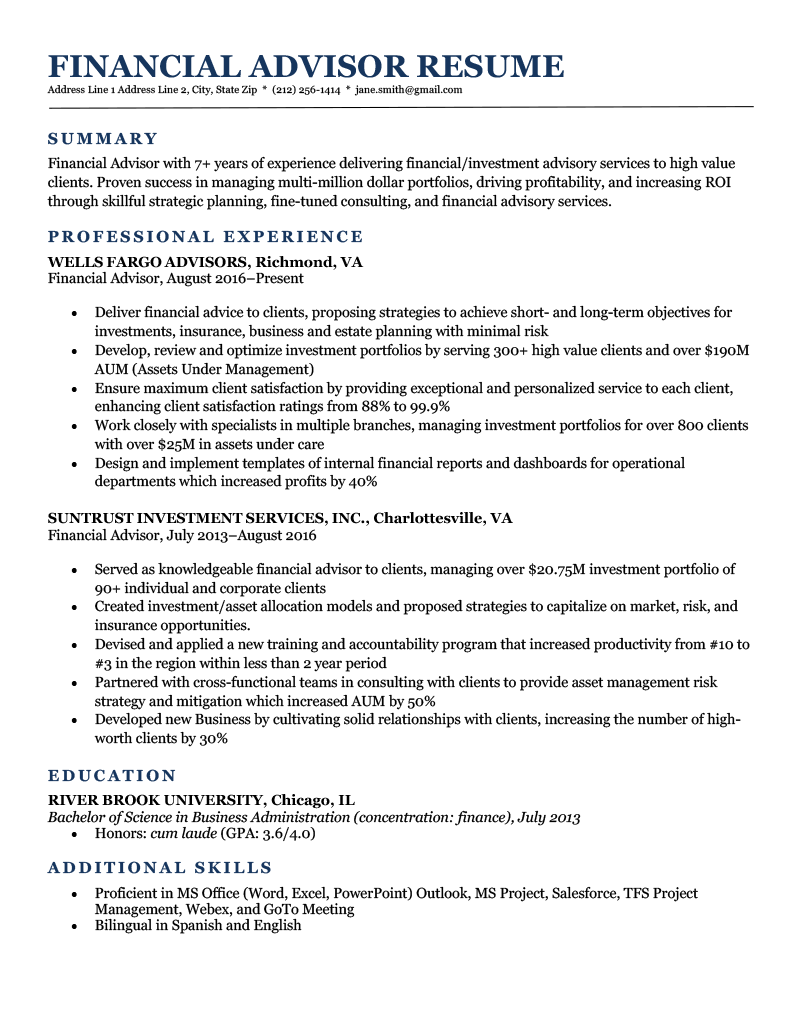 A financial advisor resume example