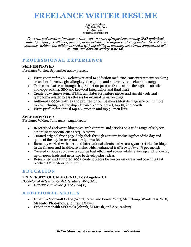 sample resume writer position