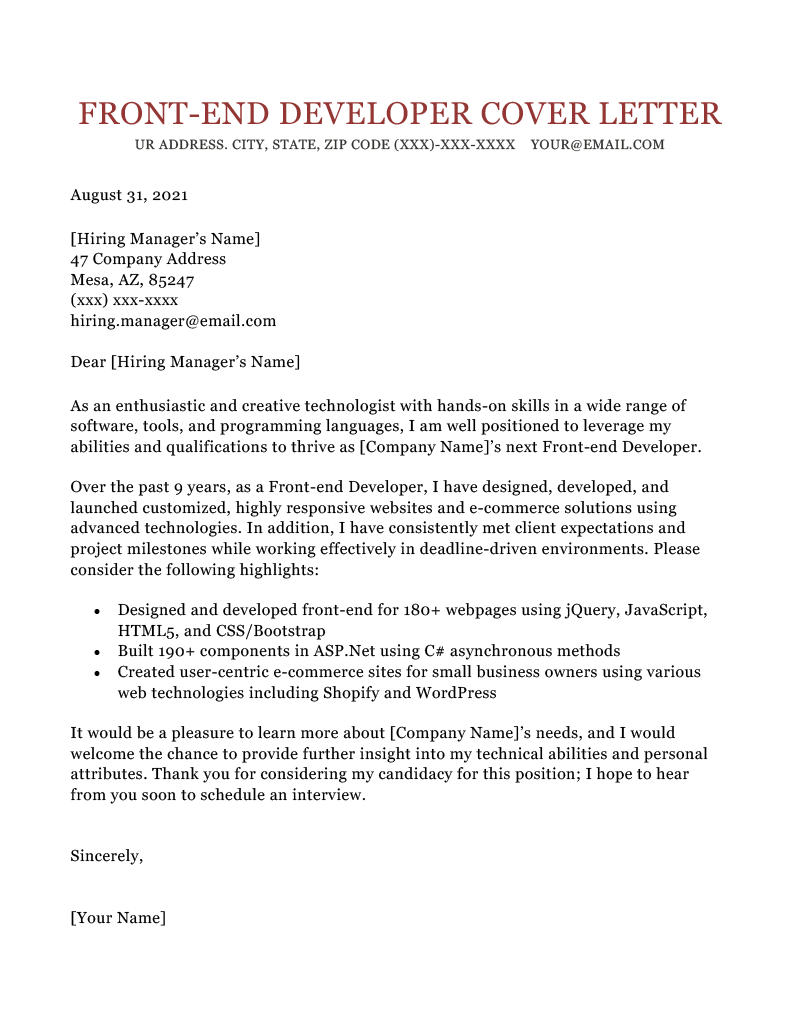 Front End Developer Cover Letter Sample