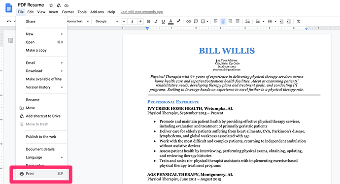 How to make a PDF resume in Google Docs step 2: click 'Print'