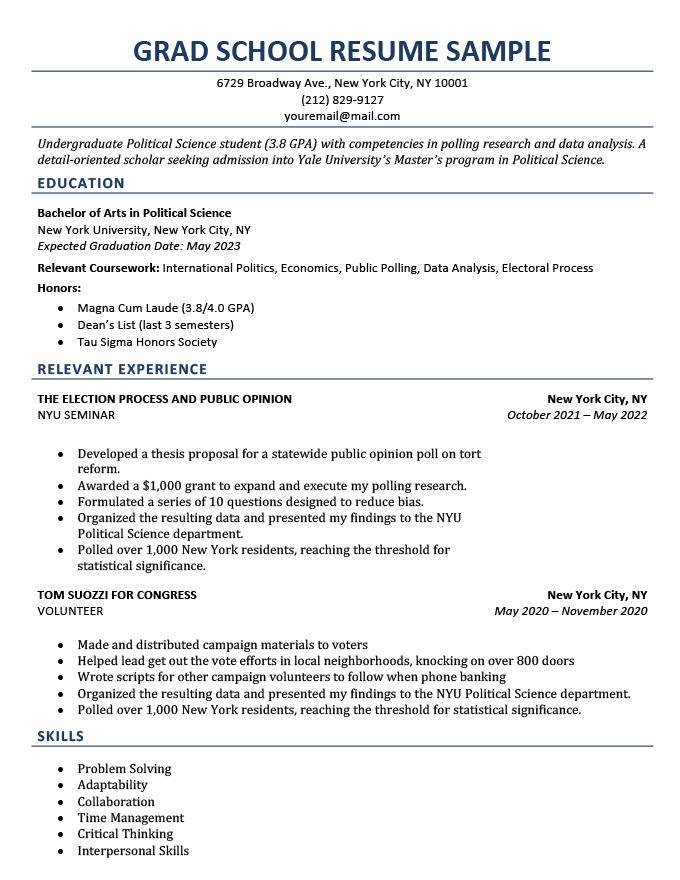 A grad school resume example